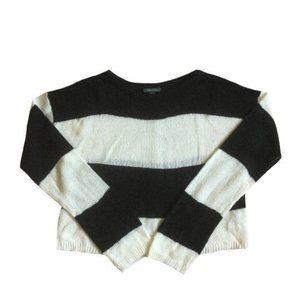 Wild Fable Black White Stripe Box Sweater Size XS